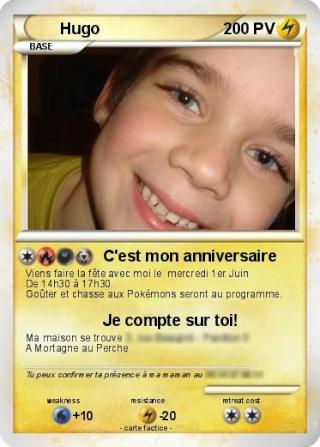 Cartes d 39 invitations anniversaire pok mon - Imprimer une carte pokemon ...