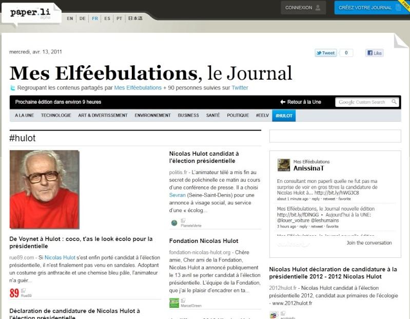 Nicolas Hulot candidat à l'élection présidentielle...   dans ECOLOGIE paperl10
