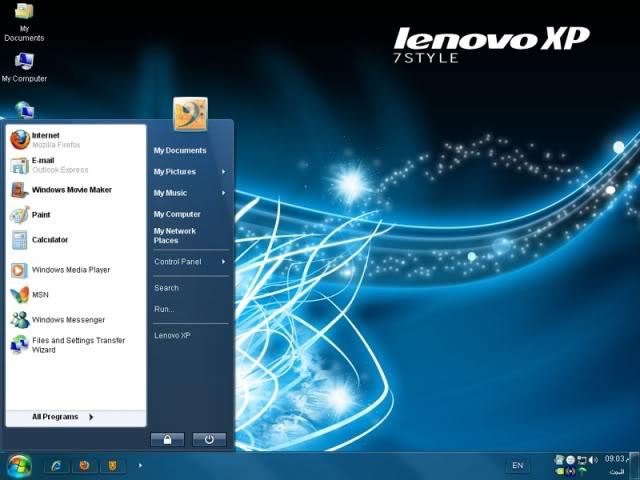 Windows Lenovo XP Seven Style.
